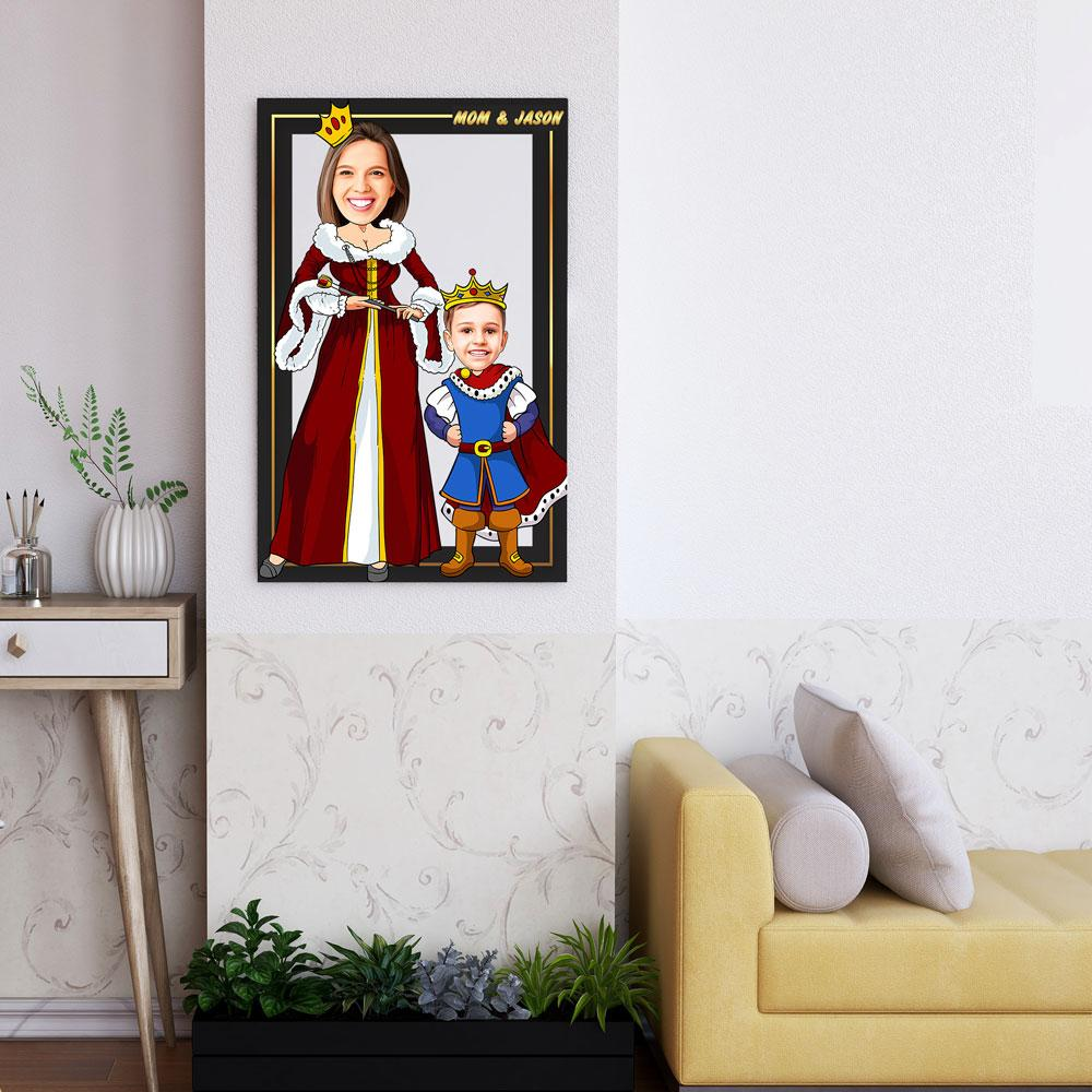 Personalized Cartoon Queen & Little Prince Wooden Wall Art Custom Fairy