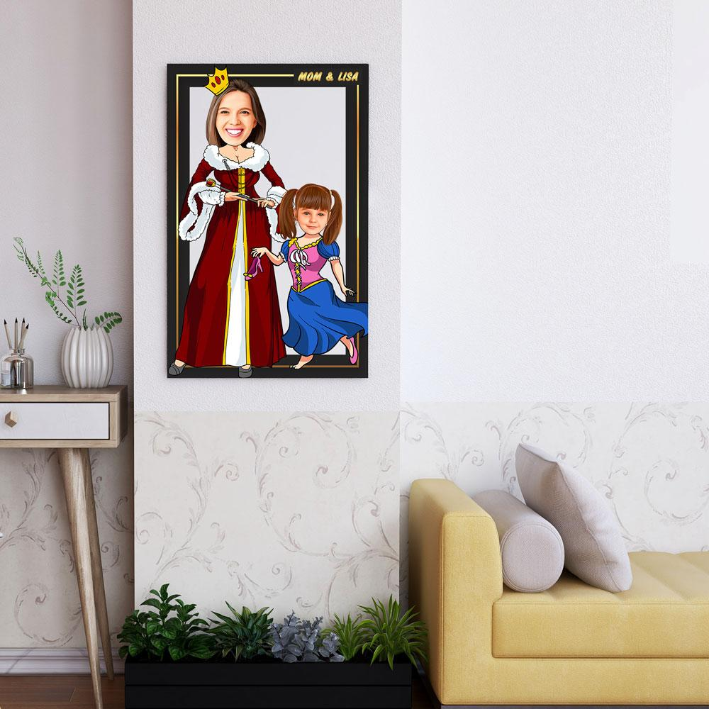 Personalized Cartoon Queen & Little Princess Wooden Wall Art Custom Fairy