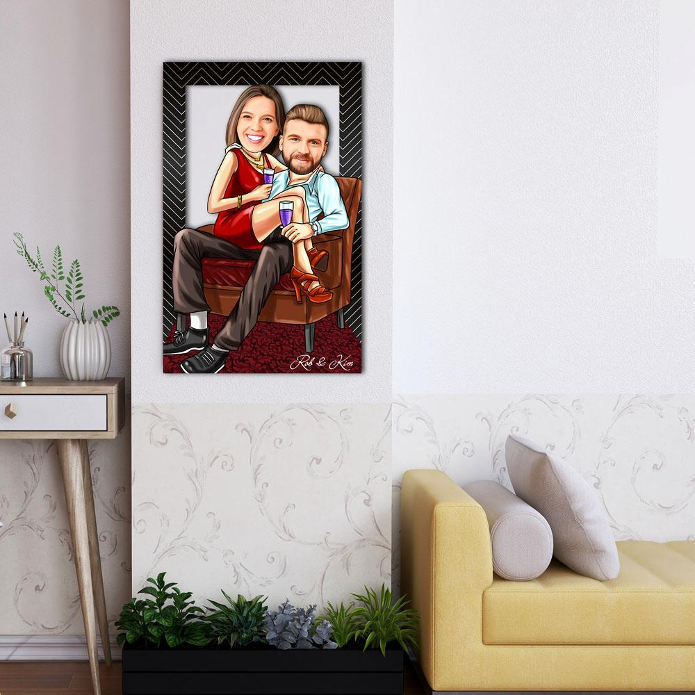 Personalized Cartoon Sentimental Couple Wooden Wall Art Custom Fairy