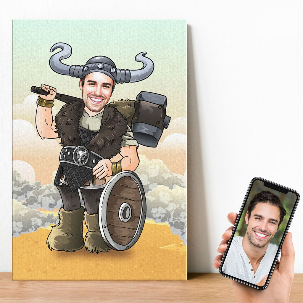 Personalized Cartoon Viking Man Canvas Canvas Wall Art 2 teelaunch