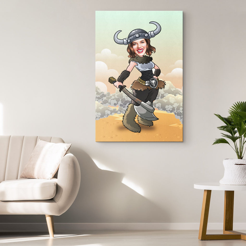 Personalized Cartoon Viking Woman Canvas Canvas Wall Art 2 teelaunch