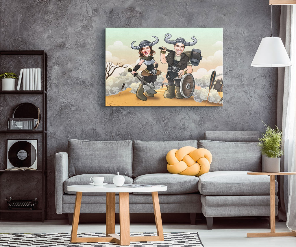 Personalized Cartoon Vikings Couple Canvas Canvas Wall Art 2 teelaunch