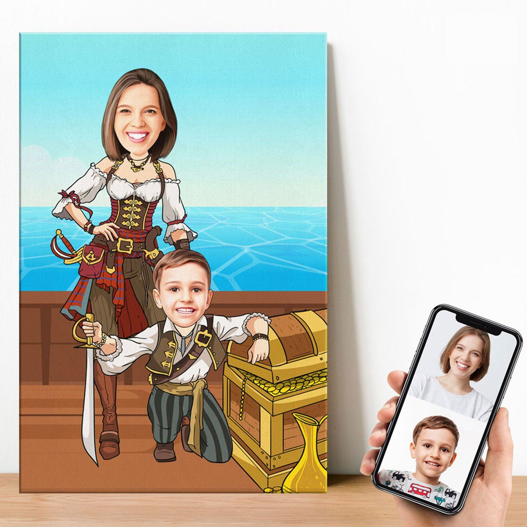 Personalized Cartoon Woman & Boy Pirates Canvas Canvas Wall Art 2 teelaunch