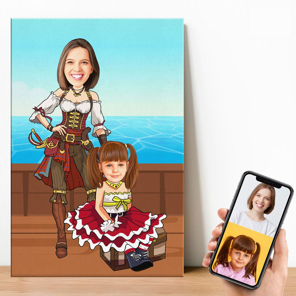 Personalized Cartoon Woman & Girl Pirates Canvas Canvas Wall Art 2 teelaunch