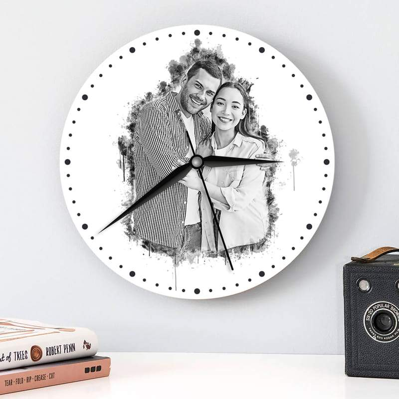 Personalized Charcoal Photo Wall Clock Custom Fairy