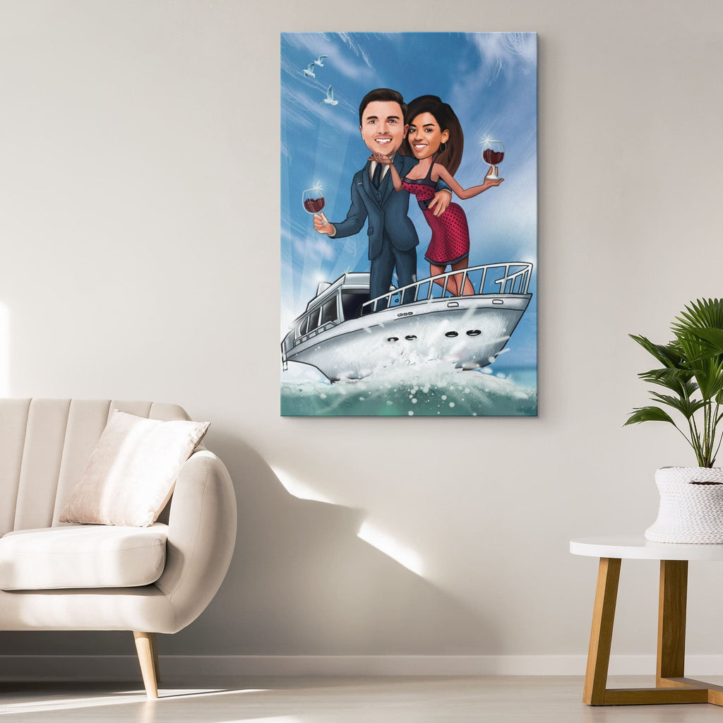 Personalized Couple Yacht Canvas