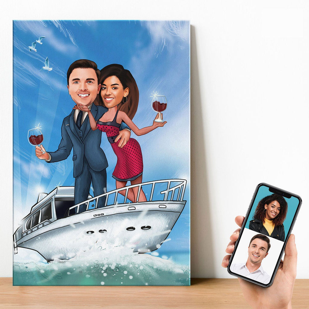 Personalized Couple Yacht Canvas Canvas Wall Art 2 teelaunch
