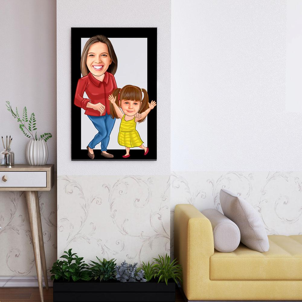 Personalized Family Cartoon Wooden Wall Art 10 Custom Fairy