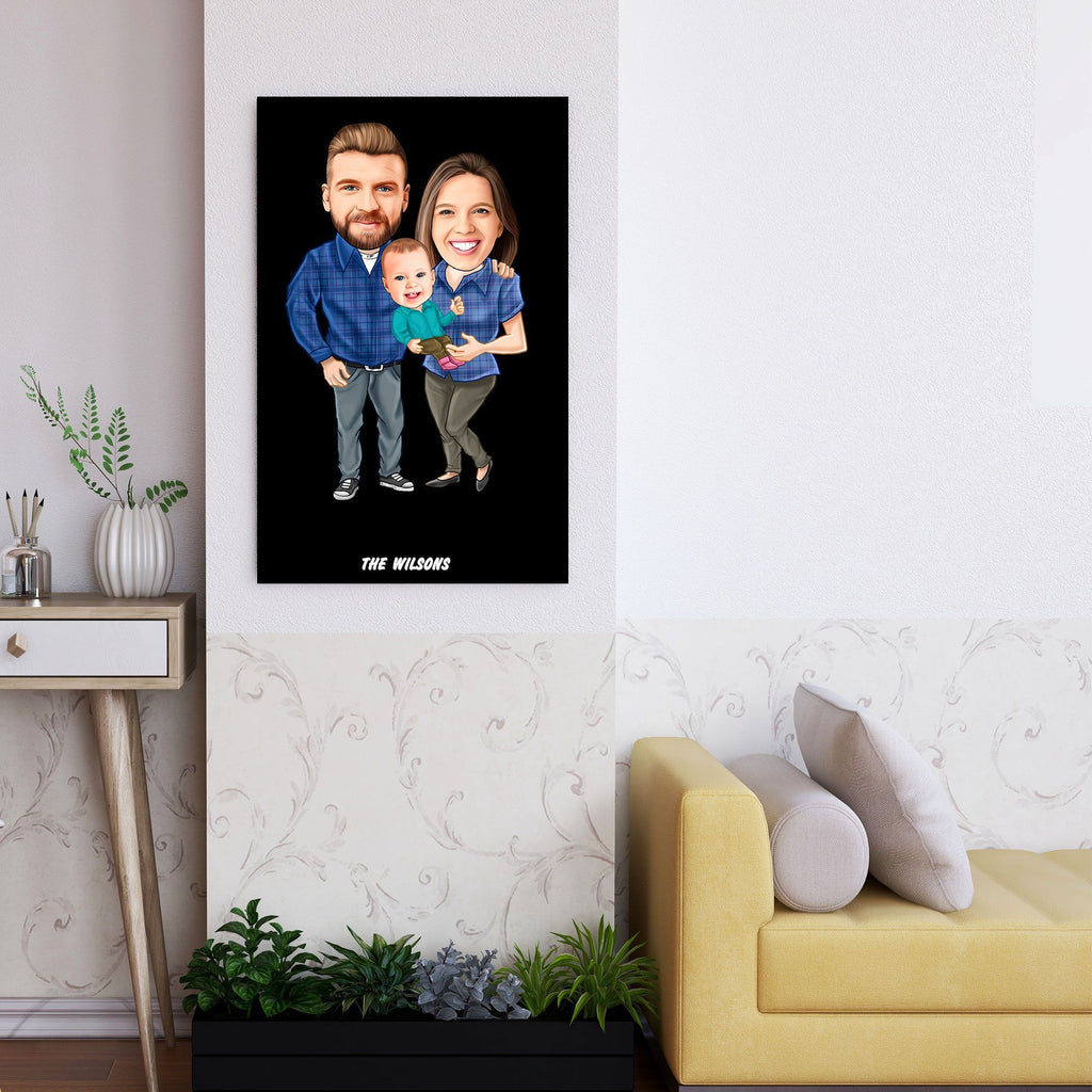 Personalized Family Cartoon Wooden Wall Art