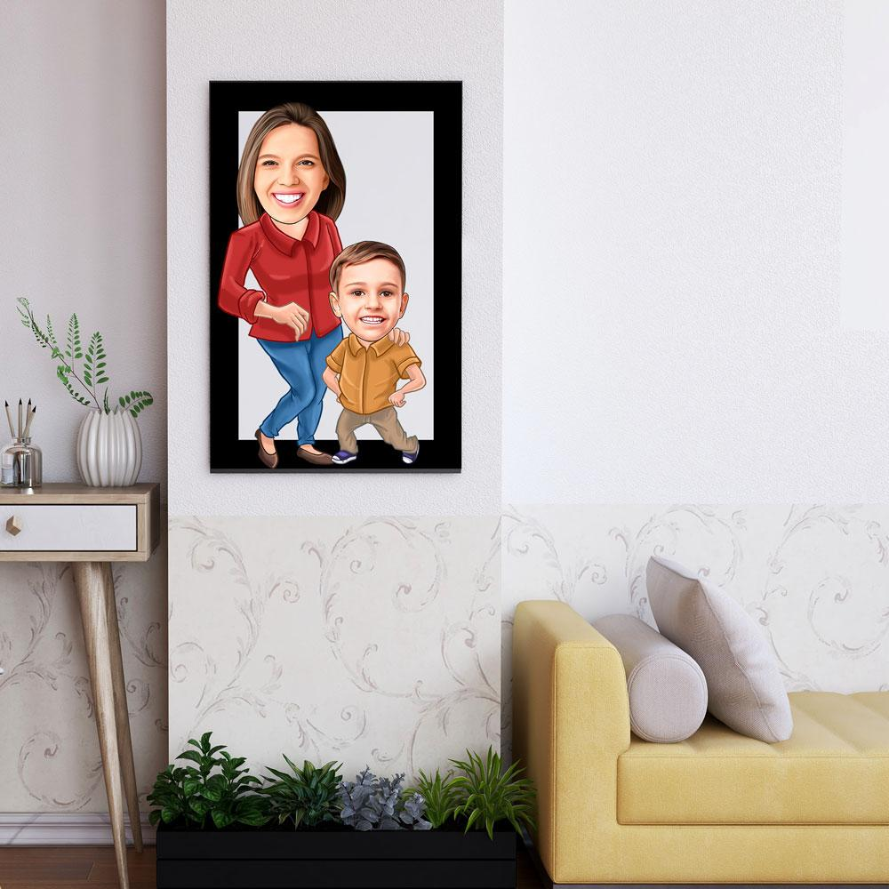 Personalized Family Cartoon Wooden Wall Art 6 Custom Fairy