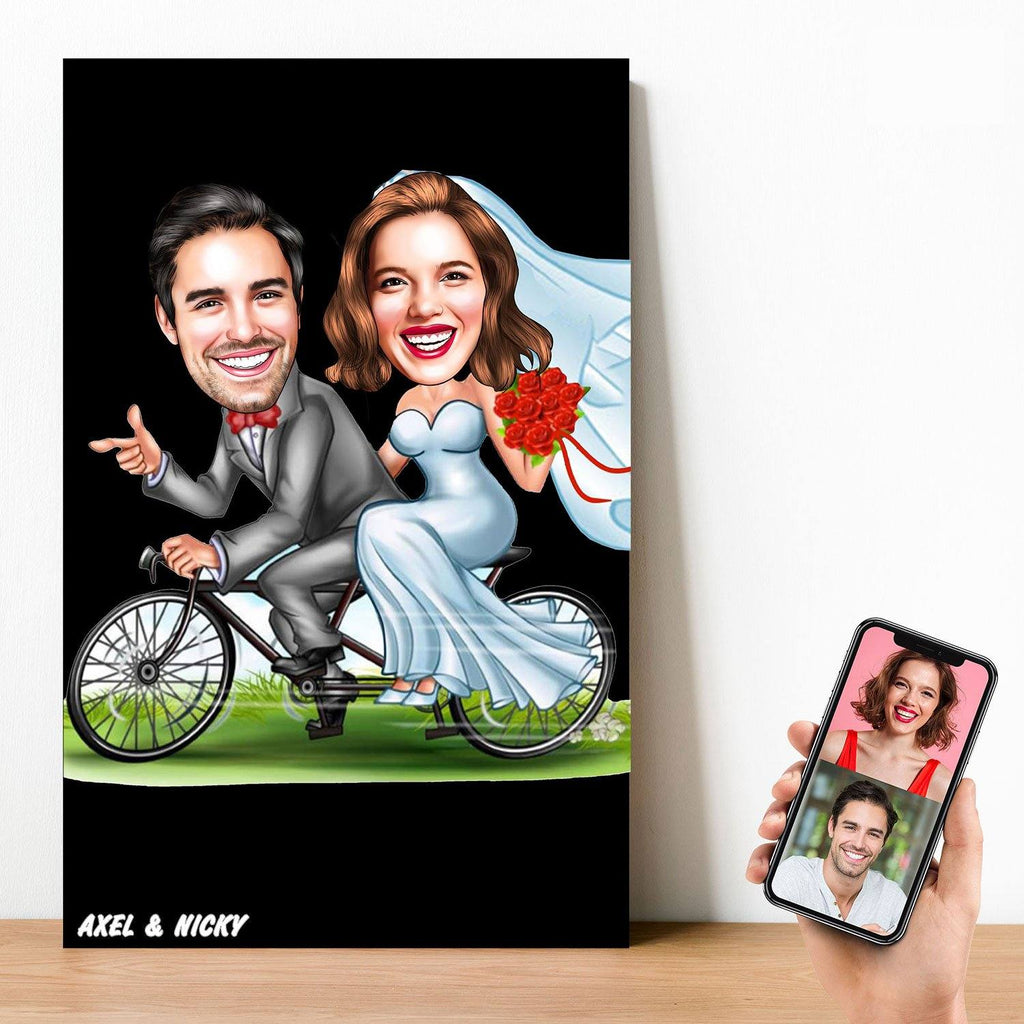 Personalized On Bicycle Married Cartoon Wooden Wall Art Wooden Wall Art Custom Fairy