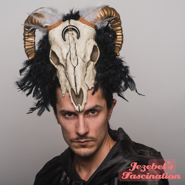 Goat Skull Voodoo Black Headpiece Golden Horns Witch Doctor WGT Gothic Costume Samhain Headdress Baphomet Satan Festival Pagan Devil Tarot Cryptic Demon Shaman Mystical Theater Beelzebub Aries Cosplay Carnival Mardi Gras Ram Inverted Moon God Pagan