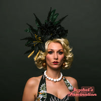 Gothic Tropical Tiki Floral Fascinator Black Lily Dahlia Bamboo Hair Flower Lagoon Oasis Pin Up Headpiece Exotic Rockabilly Rose Headdress