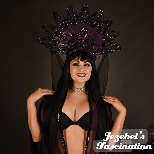Purple Bat Gothic Headdress Romantic Headpiece Vampire Ball Lace WGT Costume Majestic Skeleton Queen Samhain Black Oddity Bride Unique Hand Made Headwear Gothique Romantique Boofer Theater Halloween Mystical New Orleans Cosplay Underground