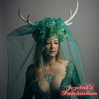 Green Woodland Deer Antlers Druid Veil Headdress Golden Renaissance Faerie Empress Wild Brigid Flower Crown Artemis Forest Goddess Nature Costume Flidais Hand Made Festival Parade Carnival Mardi Gras Headwear Theater Unique Cosplay Romanitc Mystical