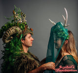 Green Woodland Deer Antlers Druid Veil Headdress Golden Renaissance Dryad Faerie Empress Wild Brigid Flower Crown Artemis Forest Goddess Nature Costume Flidais Hand Made Festival Parade Carnival Mardi Gras Headwear Pagan Unique Cosplay Romanitc Mystical