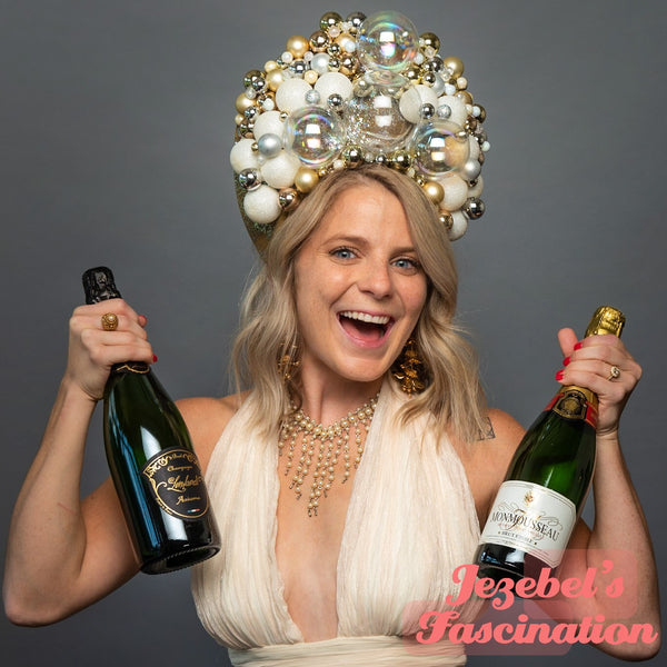 New Year's Eve Headpiece NYE Champagne Bubbles Headband Pearl Celebration Gold Silver Crown Bubbly Sparkling Wine Celebrate Unique Headdress Hand Made New Orleans Costume Drag Queen Theater Carnival Festival Parade Majestic Funny Novelty