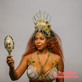 Golden Mermaid Fantasy Crown Seashell Pearl Nymph Headpiece Siren Queen Empress Maternity Costume Headdress Burlesque Belly Dance Fantasy Goddess Calypso Aquatic Sprite Amphitrite Atargatis Aquarius Mardi Gras Cosplay Costume Carnival
