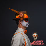 Brown Orange Fedora Skull Dia de los Muertos Candle Pheasant Feather Cempazuchitl Feather Skull Day of the Dead Hat Mens Light Up Cempasuchil Catrin Costume Halloween Cempazuchitl Marigold Festival Party Hand Made Unique New Orleans