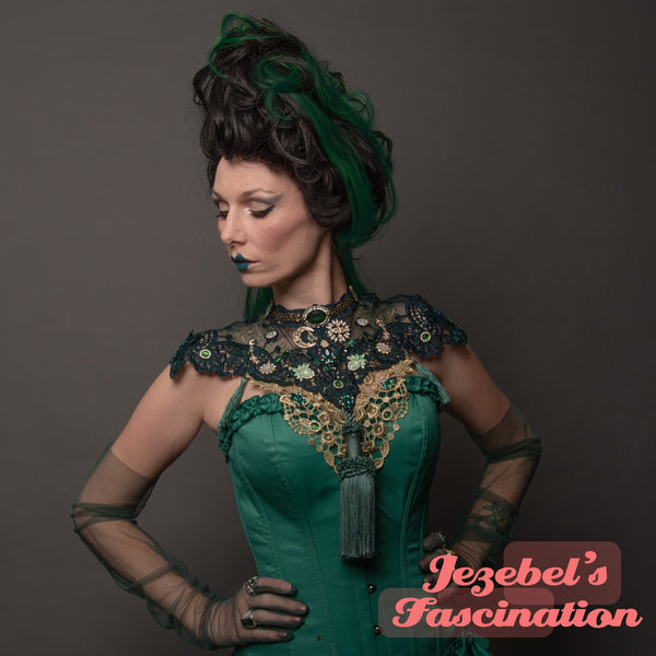 Green Victorian Lace Chest Shoulder Piece Moon Sun Witch Costume Vampire Bib Emerald Necklace Golden Collar Gothic Romantic WGT Art Nouveau Absinthe Epaulettes Gothique Jade