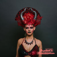 Red Black Dragon Horns Headdress Wings WGT Dracul Asian Familiar Succubus Monster Evil Fairy Fan Demon Cosplay Cryptic Headpiece Drogon Dark Viking Goddess Beaded Gothic Empress Burning Man Festival Costume Fire Flame Nerdlesque New Orleans Crown Carnival