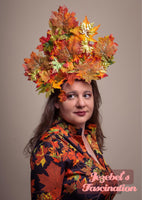 Fall Autumn Maple Leaf Nature Fascinator Green Man Garden Party Headdress Orange Green Red Yellow Headpiece Golden Leaves Large Costume Hat