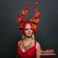 Red Floral Festival Nature Headdress Renaissance Fairy Fantasy Burning Man Flower Crown Fantasy Spring Summer Fire Faerie Dragon Headpiece Horn Cosplay Tropical Nymph Sprite