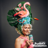 Large Pink Flamingo Tropical Headpiece Tiki Aqua Mint Blue Floral Fascinator Exotic Garden Hawaiian Oasis Frond Leaves Flowers White Trash Jungle Empress Queen Hukilau Luau Hibiscus