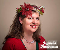 Christmas Poinsettia Circlet Berry Holiday Season Crown Hand Made Red Silver Green Berries Yule Headpiece Bells Headdress Wreath Hair Flair Unique Miracle Wreath Tacky Ugly Sweater Kitsch Kitschmas Party Accessories New Orleans Floral