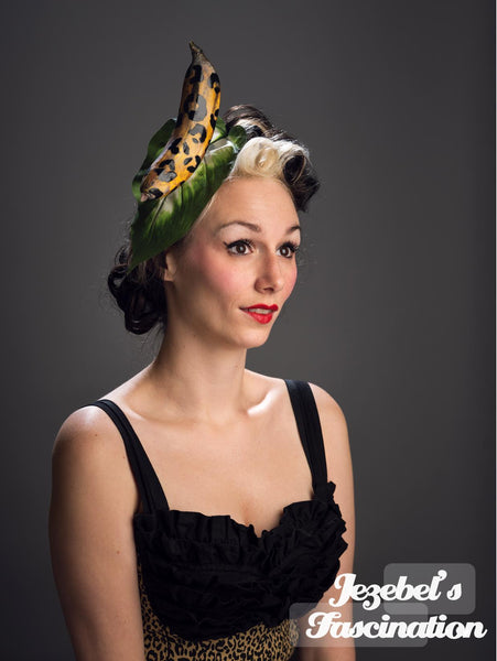 Leopard Animal Print Banana Tiki Jungle Headdress Pin Up Exotic Polynesian Headpiece Tropical Hat Hawaiian Surreal Fruit Fascinator Funny Fashion Style Pin Up Caribbean Luau Dapper Day Unique Hand Made