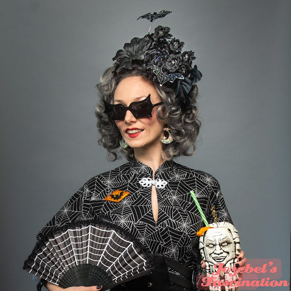 Gothic Tiki Pin Up Hair Flower Black Bat Webs Lily Hukilau Tropical Oasis Rockabilly Creepy Spiderwebs Polynesian Pop Lilies Mum Halloween Webs Cobwebs Gothical Tikibilly Pin Up Hulabilly
