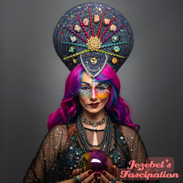 Zodiac Astrology Fortune Teller Cosmic Galaxy Rainbow Headdress Libra Cancer Leo Aquarius Scorpio Pisces Capricorn Gemini Virgo Costume Star Sign Supernatural Majestic Rainbow Occult Mage Magic Halloween Hand Made Crown Headpiece Wearable Art