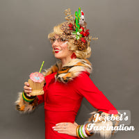 Tacky Christmas Tiki Kitschmas Fascinator Jungle Belles Koala Tropical Santa Hat Leopard Animal Print Poinsettia Pin up Hair Flower Sweater Holiday Party Eucalyptus Kitsch Tacky Ugly Novelty Hand Made Headwear Unique Accessories Jezebel's Fascination
