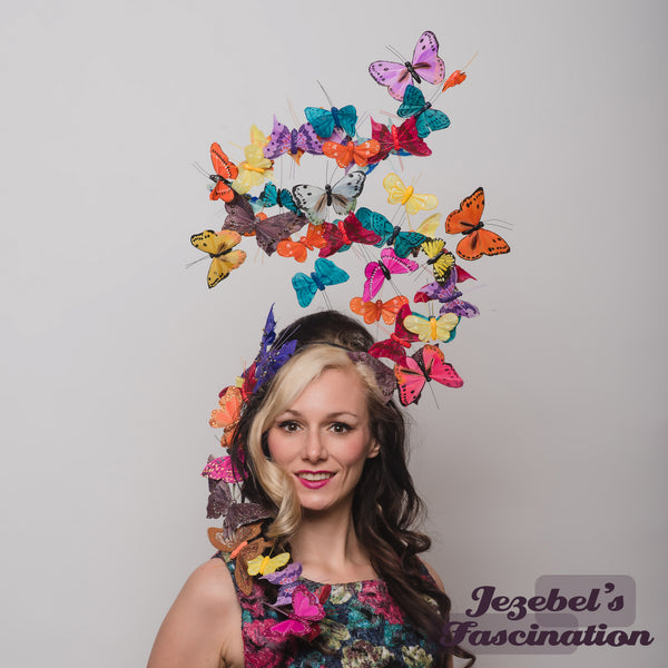 Large Butterfly Headpiece Multicolored Nature Butterflies Rainbow Ethereal Headwear Hatinator Preakness Belmont Horse Races Romantique Art Nouveau Ascot Derby Headwear Large Summer Garden Tea Party Headband Romantic Dapper Day Wedding Hand Made Unique