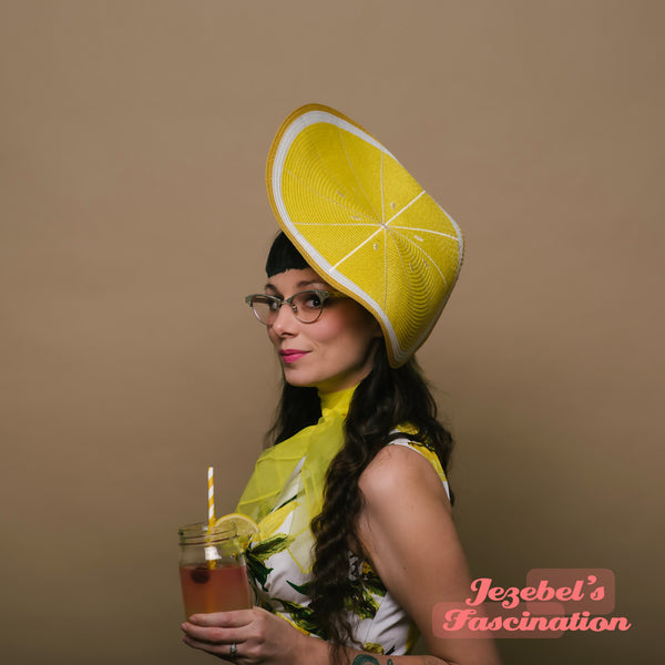 Lemon Slice Hatinator Blossom Headpiece Fruit Dapper Day Yellow Headband Spring Summer Hat Derby Horse Show Races Fascinator Festival Pin Up Parade Kitsch Formal Easter Garden Tea Party Quirky Hand Made Unique Large Lemonade Citrus Accessories