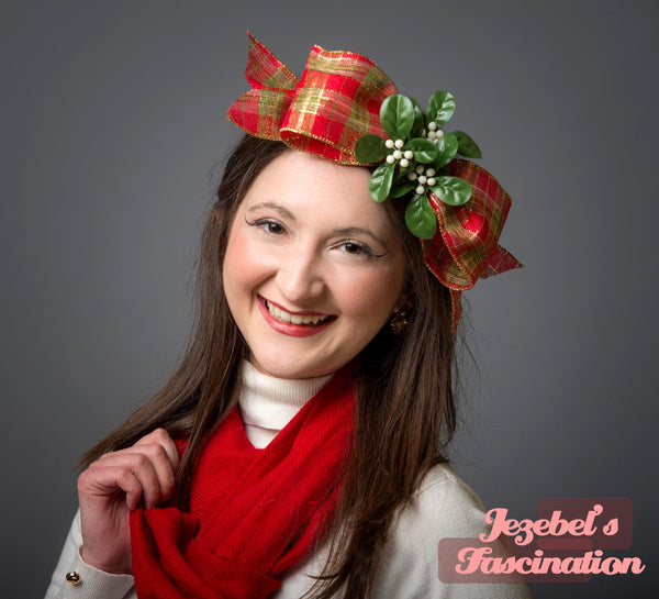 Mistletoe Red Gold Plaid Fascinator Novelty Berry Green Ribbon Hand Made Ugly Tacky Christmas Sweater Rustic Bow Headpiece Holiday Headwear Unique Kitsch Kitschmas Dance Party New Orleans Yule Accessories Headwear Jezebel's Fascination Funny Novelty