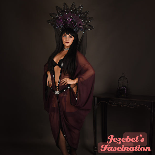 Art Nouveau Bat Wing Gown Cocoon Dressing Robe Purple Plum Sheer Eggplant Poiret Dance Wrap Fantasy Drag Queen Burlesque Art Deco Theater Costume Goddess Gothic Romantic Witch Vampire Ball WGT Majestic Vaudeville Priestess Jezebel's Fascination Boudoir