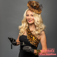 Leopard Gold Veil Formal Hat Animal Print Dapper Day Fascinator Pin Up Gold Flower Headpiece Wedding Garden Tea Party Brown Birdcage Veil Formal Brass Hatinator Spotted Headwear Unique Festival Pin Up Hand Made New Orleans Dance Carnival Drag Queen Races