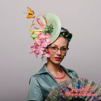 Sage Green Pink Yellow Butterfly Fascinator Dapper Day Spring Summer Floral Headpiece Pastel Formal Country Horse Races Show Derby Preakness Belmont Ascot Hatinator Hand Made Unique Garden Tea Party Festival Theater Easter Bonnet Parade Romantic Headwear