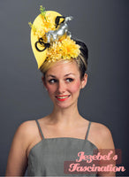 Kentucky Derby Horse Unique Ascot Fascinator Headwear Phoenician Filly Light Yellow Vintage Floral Mustang Hatinator Races Hat Headpiece Hand Made Kitsch Funny Quirky Belmont Preakness Dapper Day Garden Party Spring Festival Parade Accesssories