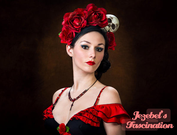 Flower Crown Day of the Dead Halo Catrina Dia de los Muertos Red Rose Skull Headdress Queen Costume Fascinator Head piece Frida Headband WGT Gothic Romantic Goth Floral Costume Halloween Gothique Romantique Flamenco Spanish