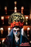 Day of Dead Dia de Muertos Virgin Mary Halo Saint Flower Crown Halo Cempazuchitl Marigold Veil Gold Star Light Up Headpiece Headdress Mantilla Cempasuchil Cross Floral Death Our Lady Guadalupe Santa Maria Heavenly Bodies Catholic