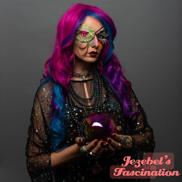 Eye Patch Fortune Teller Gypsy Pink Eye Costume Witch Halloween Bright Neon Green Eyelash Blue Feather Chain Rave High Priestess Oddity Occult Burning Man Cirque Renaissance Festival New Orleans Mardi Gras Theater Carnival Mage Cat Snake Dragon