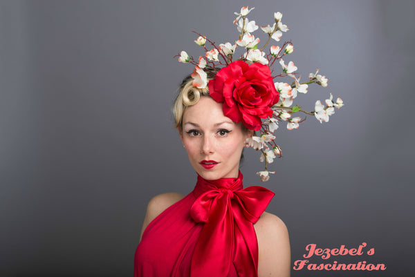 Large Rose Carnevale Cherry Blossom Fascinator Red White Flower Derby Headdress Dogwood Branches Hair Flower Race Headpiece Floral Hat Belmont Preakness Unique Hand Made Headwear Romantic Gardent Tea Party Dapper Day Formal Wedding Spring Summer Wedding