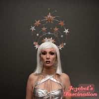 Star Halo Crown Celestial Gold Silver Saint Headpiece Light Up Heavenly Bodies Burlesque Galactic Queen Cosmic Goddess Mystical Costume New Years Eve Fantasy Headdress Festival Theater Carnival Our Lady Guadalupe Angel Unique Hand Made Cosplay Mardi Gras