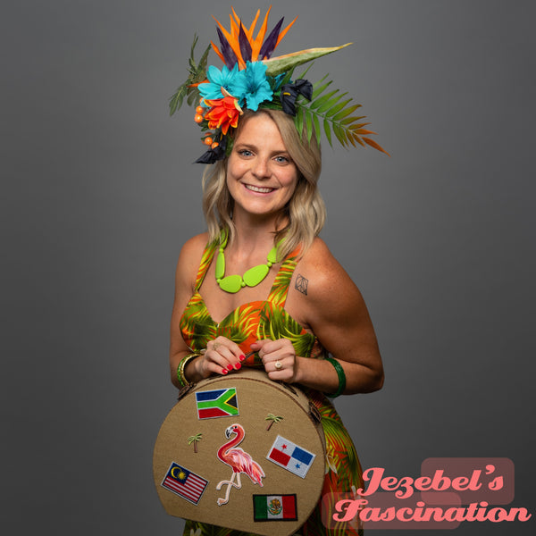 Tiki Hair Flower Blue Orange Hibiscus Bird of Paradise Lily Frond Oasis Hukilau Tropical Pin Up Jungle Headpiece Polynesian Pop Hawaiian Havana Exotic Luau Hand Made Unique New Orleans Mardi Gras Parade Festival Carnival Fascinator