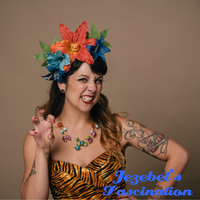 Tiger Lily Pin Up Luau Jungle Headpiece Tiki Tropical Funny Fascinator Blue Hawaiian Oasis Headdress Hibiscus Hair Flower Hukilau Crown Orange Hand Made Funny Quirky Unique Garden Party Exotic Dapper Day Polynesian Pop Novelty