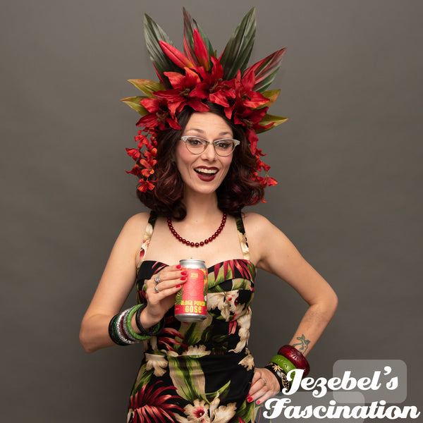Tiki Noir Red Fire Pele Headdress Tropical Gothic Jungle Flower Crown Garden Party Hukilau Oasis Headpiece Dark Lily Flame Pin Up Style Polynesian Pop Goddess Queen Rockabilly Dark Unique New Orleans Dance Festival Fashion Accessories Caribbean Cruise