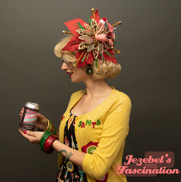 Tacky Christmas Tiki Flamingo Kitschmas Fascinator Jungle Belles Santa Hat Leopard Headpiece Poinsettia Hair Flower Holiday Party Tikimas Unique Hand Made Sippin Santa Pin Up Animal Print Party Holiday Kitsch Novelty Googie Bells Grass Rafia Headwear