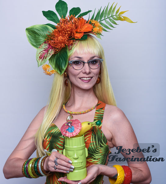 Bright Orange Tiki Tropic Fascinator Large Hair Flower Hukilau Hawaiian Jungle Headpiece Pin Up Rain Forest Garden Party Greenery Dapper Day Oasis Polynesian Pop Summer Spring